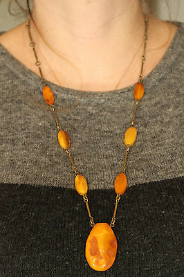 Natural Antique 26.64g Butterscotch Egg Yolk Baltic Amber stone Necklace #897