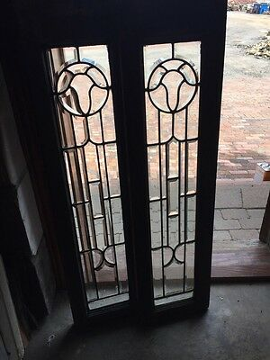 "Sg 747 Matched Pair Antique All Beveled Glass Sidelights 12"" X 47"""