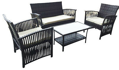 4PC Garden Rattan Furniture Open Arm Sofa Chair Table Set Outdoor Conservatory