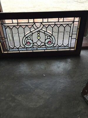 "Sg 751 Antique Beveled Jeweled Transom Window 15.5"" X 31.5"""