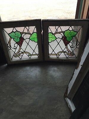 Sg 755 Matched Pair Antique Painted And Fired Grape Windows