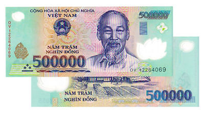 Vietnam 500,000 X 2 Pieces (PCS) = 1 Million Dong Currency VND