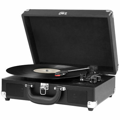 Portable Bluetooth Turntable 3 Speed AUX Speaker Suitcase Vinyl Record Player