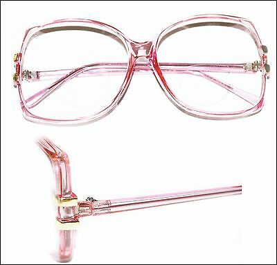 0f9cd676157 Super Huge Bifocal Reading Glasses Large Oversize Rose Pink Frame +1.00 Lens