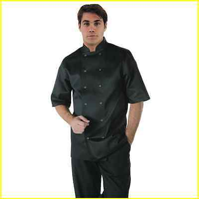 Chef Jacket Black Short Sleeve Press Stud Buttons Sizes XS to XXL Cook Uniform