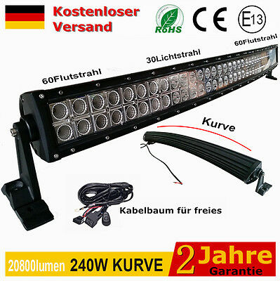 """42"""" 240W Flood&Spot LED Light Bar Off road roof Lamp 12v 24v With Free Cables CE"""