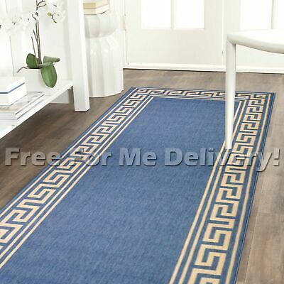 ALFRESCO GREEK KEY BLUE INDOOR/OUTDOOR FLOOR RUG RUNNER 67cm WIDE *FREE DELIVERY