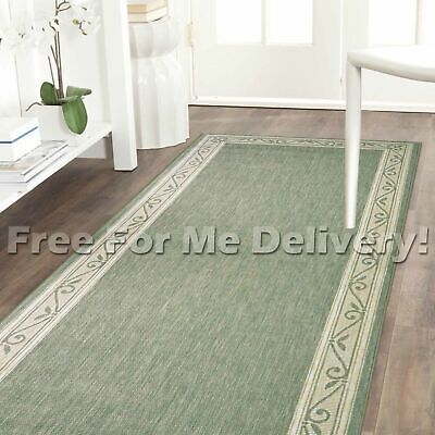 ALFRESCO SCROLL GREEN INDOOR/OUTDOOR FLOOR RUG RUNNER 67cm WIDE **FREE DELIVERY*