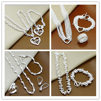 Fashion Jewellery Set Solid 925 Sterling Silver Necklace Earring Ring Bracelet