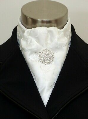 "ERA  ""Deb""  Soft Pleat -  Ivory Embroidered Satin Stock Tie & Classic Pin"