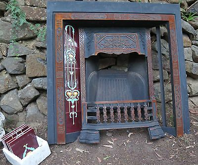 Cast Iron Fire Place Ornate Tiles Antique Victorian style fireplace Can Deliver!