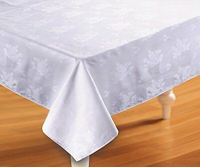 Cotton Rich Jacquard Leaf White Table Cover