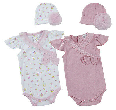 Babytown Baby Girls Ditsy Flower Pink Summer Bodysuit and Hat 2 Piece Gift Set
