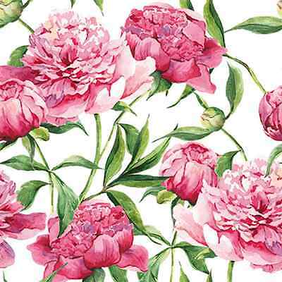 20 Paper Lunch Napkins PINK PEONIES - PARTY DECOUPAGE SERVIETTES TaT