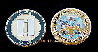 Captain Us Army Usa Challenge Coin O-3 Capt Rank Pin Up Fort Cav Arti Air Gift
