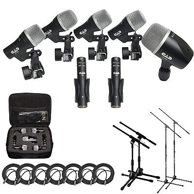 CAD Stage7  7-Piece Drum Mic Pack with Case + 2 Mic & Kick Stands + 7 XLR Cables