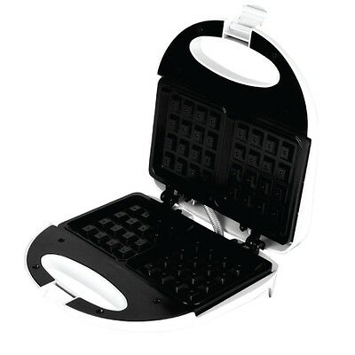 New Vivitar Non-Stick Double Square Waffle Maker Stainless Steel WHITE