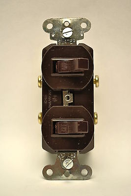 Brown Two Single Pole Toggle Switch 15A-120/277V Double Toggle Light Switch NIB