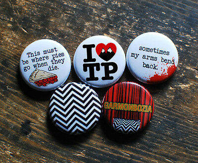 """5 x 1"""" TWIN PEAKS BUTTONS pins badges fire walk with me david lynch season 1 2"""