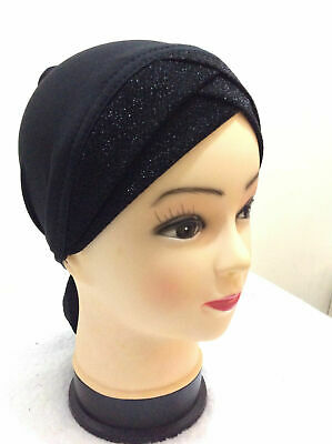 Ladies NEW Glitter Shimmer Bonnet Caps Hijab Under scarf Ninja Cap Headband