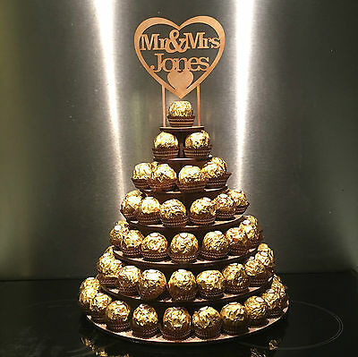 Personalised Ferrero Rocher Wedding Display Stand Centrepiece Tower Pyramid Mrs