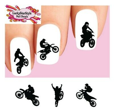 Waterslide Nail Decals Set of 20- Motocross Dirt Bike Freestyle Silhouettes