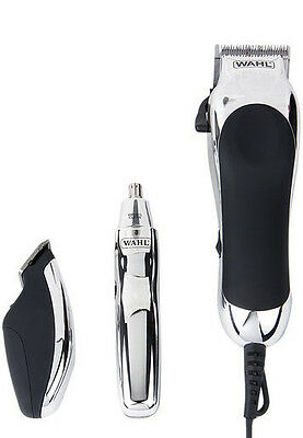 Wahl 79524-810 ChromePro Complete Hair Cutting Clipper Nose Ear Trimmer Kit Set