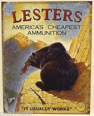 LESTERS AMMUNITION metal sign Americas cheapest ammunition, usually works 1758