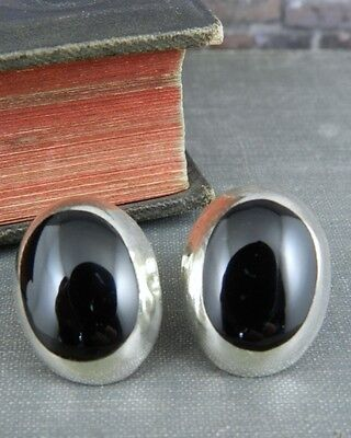 Taxco Mexico Sterling Silver & Onyx Dome Button Earrings