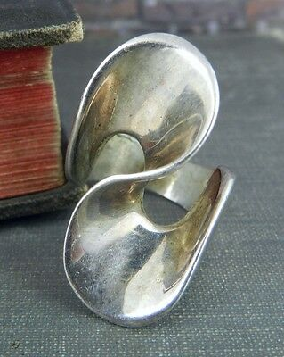 Modernist Taxco Mexico Sterling Silver Ring - Size 6.25ish
