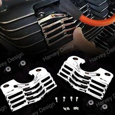Chrome Finned Slotted Head Bolt Spark Plug Covers Harley Touring