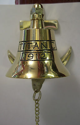 Irish Brass Anchor Bell Titanic 1912 - Large With Chain