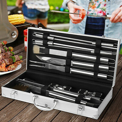 Posate barbecue posate attrezzi accessori barbecue in acciaio inox set da 18 pz