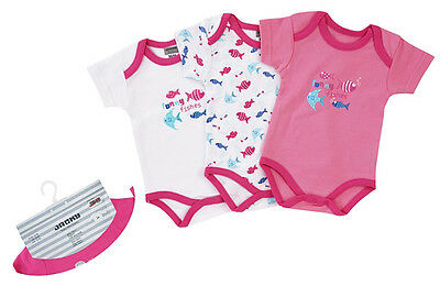 Jacky Body Kurzarm 3er Pack Girl Funny Fishes Gr. 86/92 (Pink-Weiß)