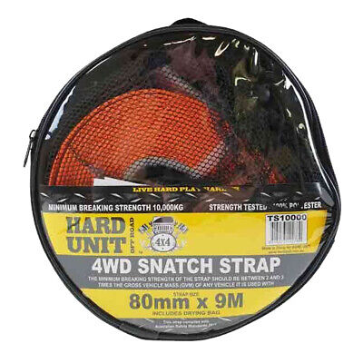 SNATCH STRAP 4WD RECOVERY 10,000 KG 80mm X 9 M INC OPEN WEAVE DRYING BAY H/D 4X4