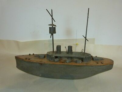 """HAND CARVED 20"""" GREY POND BATTLE STEAM SHIP WITH CROWS NEST BY unbranded"""