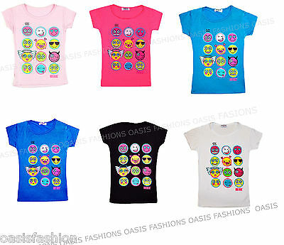 KIDS CHILDRENS MULTI EMOJI EMOTICONS SMILEY FACES SHORT SLEEVE T-SHIRTS Ages2-13