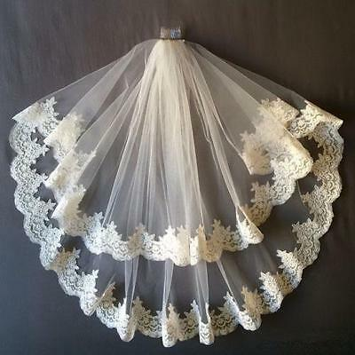2 Tiers White or Ivory Lace Applique Edge Bridal Wedding Veil With Comb