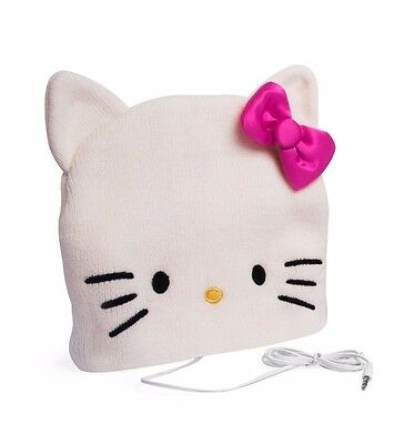 Official Hello Kitty Headphones Hat - Built in Speakers in Hat  100% Acrylic
