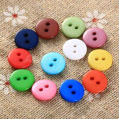 100Pcs DIY Random Multi-colors Round 2 holes Resin buttons fit sewing scrapbook