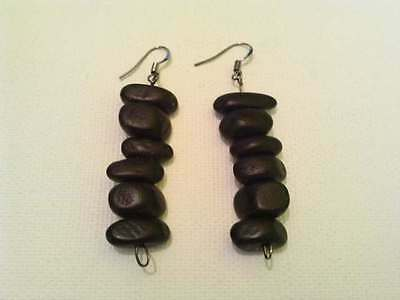 Black wooden nugget earring