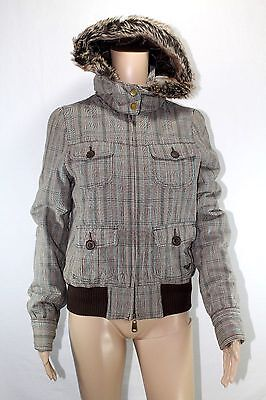 Roxy Brown Squares Women Coat jacket With hood Adult Size Medium  Gently used