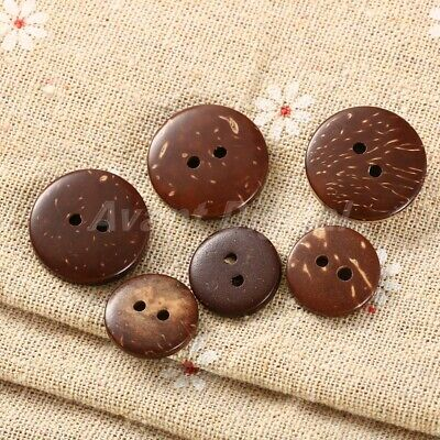 100Pcs Brown Coconut Shell 2 Holes Sewing Buttons Scrapbooking 15mm Knopf Button