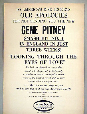 """Gene Pitney PRINT AD - 1965 ~~ """"Looking Through the Eyes of Love"""""""