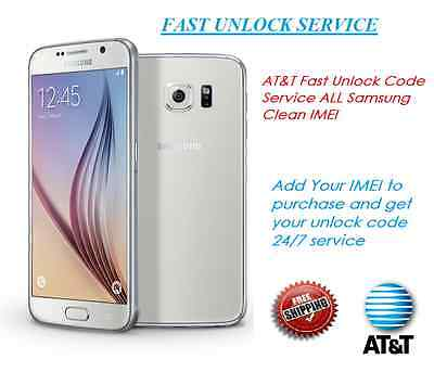 AT&T FAST UNLOCK Code SERVICE FOR Samsung Galaxy S2 S3 S4 S5 S6 Note 1,2,3,4