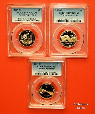 2014 S and 2015 S $1 Sacagawea Dollar Proof PCGS69 DCAM 2 Coin Set