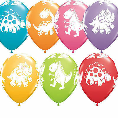 10 Cute and Cuddly Dinosaur Latex 11 inch Balloons Multi Color Birthday
