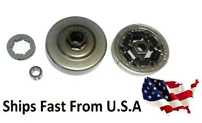"""Chain sprocket 3/8"""" + clutch + Drum Needle Cage fits Stihl 036, 044, MS361"""