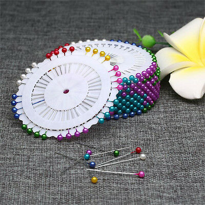 120pcs/3 Sets Pearl Round Colorful Dress Making Floral Heads Craft Corsage Pins