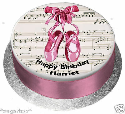 EDIBLE ICING / WAFER Personalised Cake Topper BALLET SHOES PINK Birthday Any Age